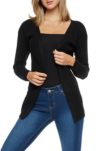 Long Sleeve Open Front Cardigan with Twist Back,BLACK,large