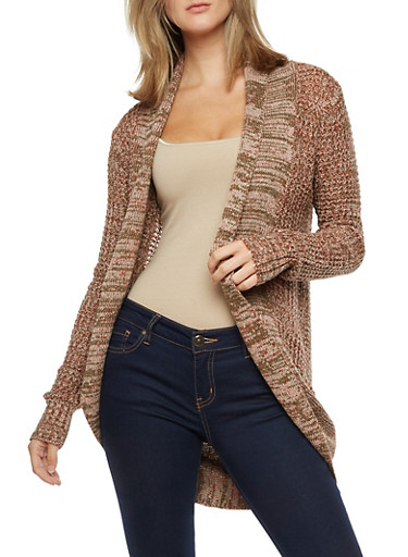 Long Sleeve Open Front Cardigan,OLIVE/RUST/BLUSH,large
