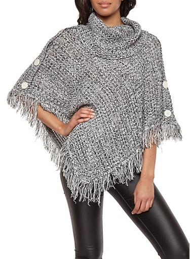 Marled Fringe Knit Poncho,IVORY/BLK,large