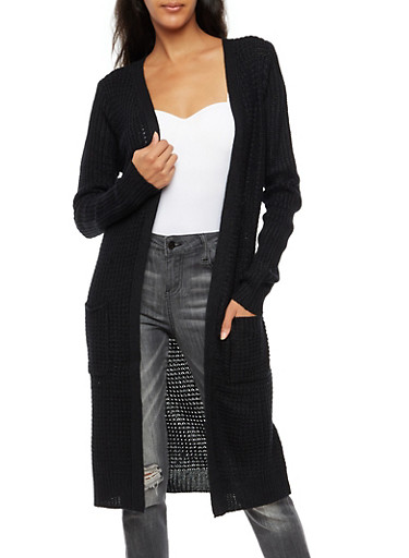 Long Open Knit Duster with Pockets,BLACK,large