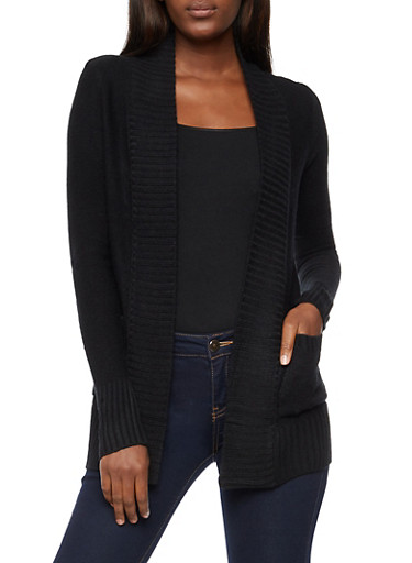 Open Front Cardigan with Rib Knit Trim,BLACK,large