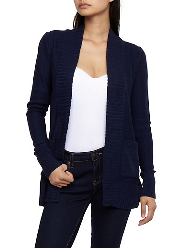 Open Front Cardigan with Rib Knit Trim,NAVY,large