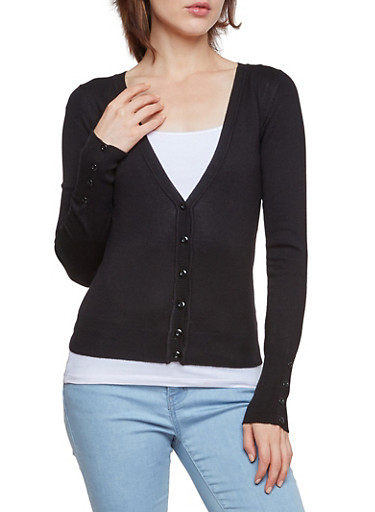 V Neck Cardigan,BLACK,large
