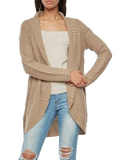 Shawl Collar Open Front Knit Cardigan,KHAKI,large