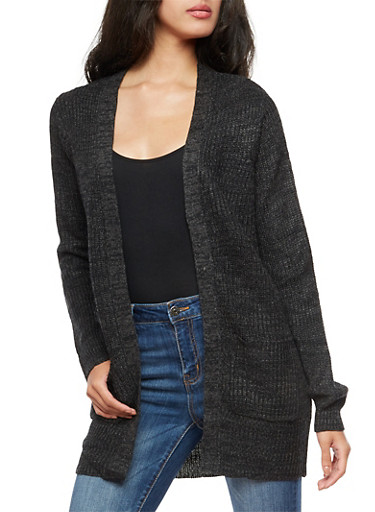 Open Front Pocket Knit Cardigan,CHARCOAL,large