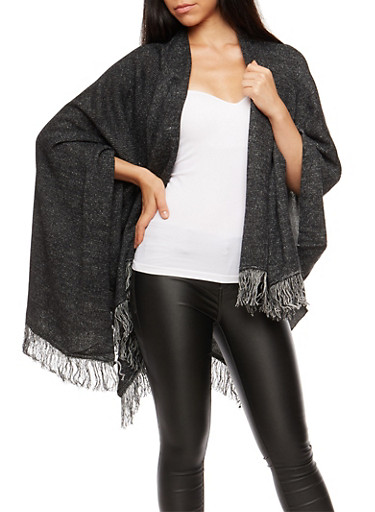 Marled Wrap Front Shall with Fringe,BLACK/H.GREY,large
