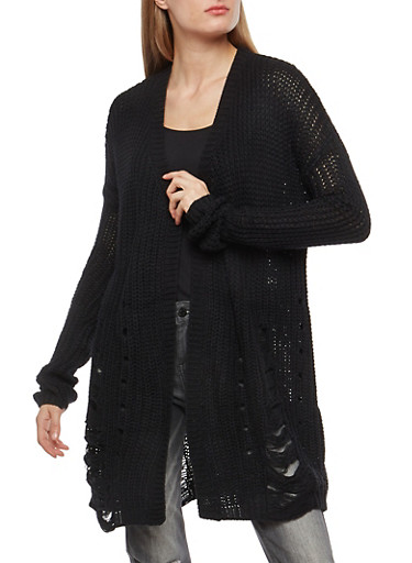 Ripped Knit Cardigan,BLACK,large