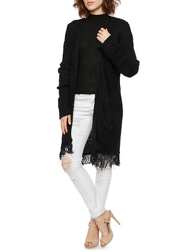 Knit Open Cardigan with Fringed Trim,BLACK,large