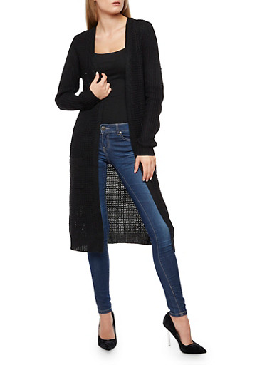Heavy Knit Duster,BLACK,large