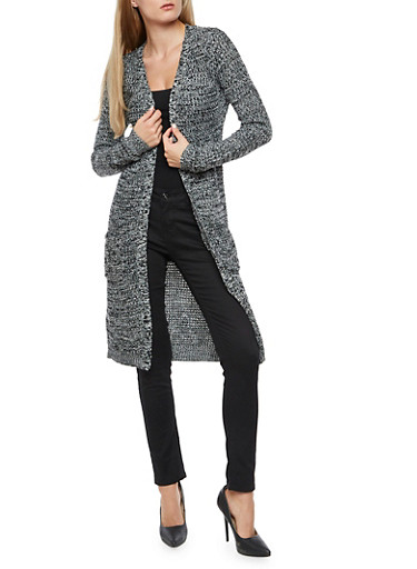 Two Toned Knit Duster,BLACK/IVORY,large