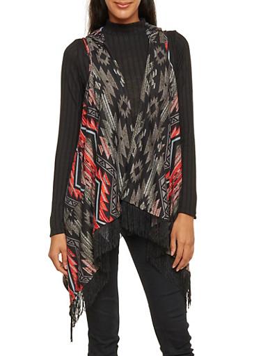 Hooded Southwestern Print Vest with Fringe,BLACK,large