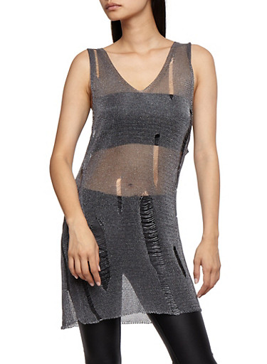 Metallic Knit Sleeveless Slashed Tunic Top,GUNMETAL,large