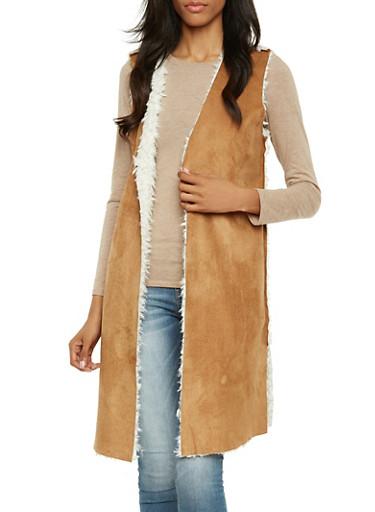 Faux Shearling Duster Vest,COGNAC,large
