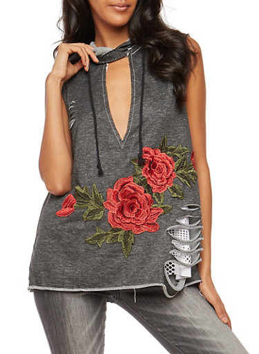 Laser Cut Hooded Keyhole Top with Floral Applique,BLACK,large