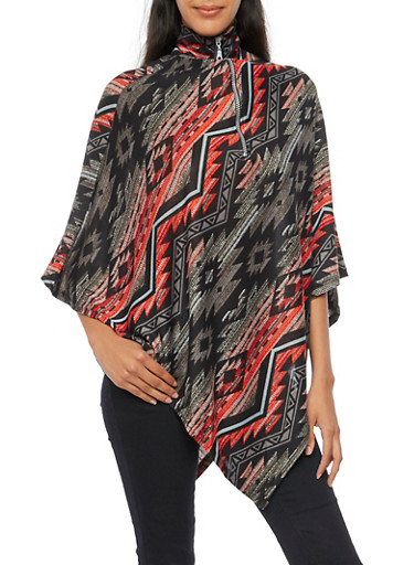 Southwestern Print Poncho with Zippered Mock Neck,BLACK,large