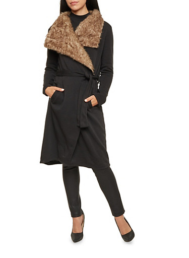 Knit Belted Coat with Faux Fur Trim,BLACK,large
