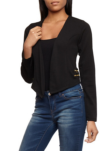 Textured Knit Asymmetrical Open Front Blazer with Zipper Details,BLACK,large