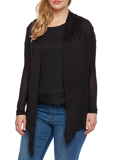 Open Front Cardigan,BLACK,large