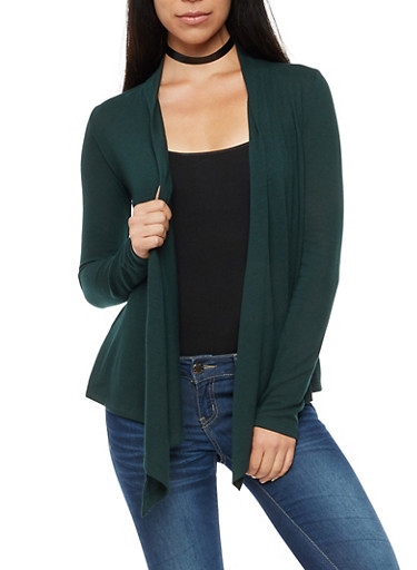 Long Sleeve Open Front Cardigan,HUNTER,large
