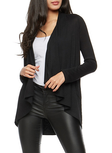 Open Front Ribbed Knit Trim Cardigan,BLACK,large