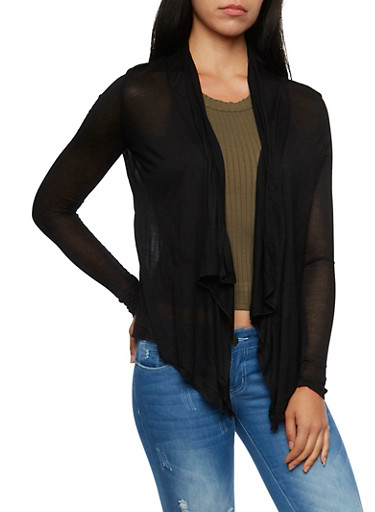 Semi Sheer Cardigan with Open Front,BLACK,large