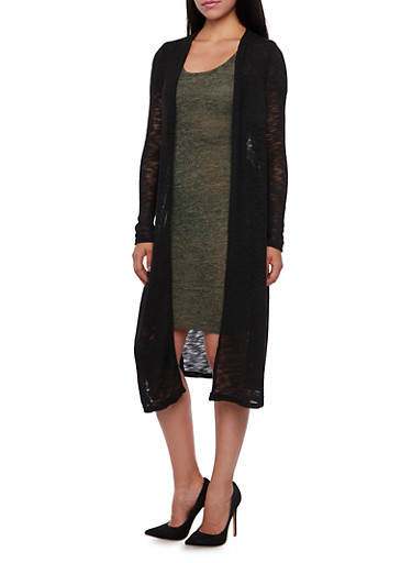 Long Sleeve Knit Duster with Side Slits,BLACK,large