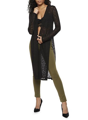 Long Sleeve Cardigan,BLACK,large