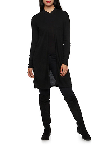 Duster Cardigan in Ribbed Knit,BLACK,large