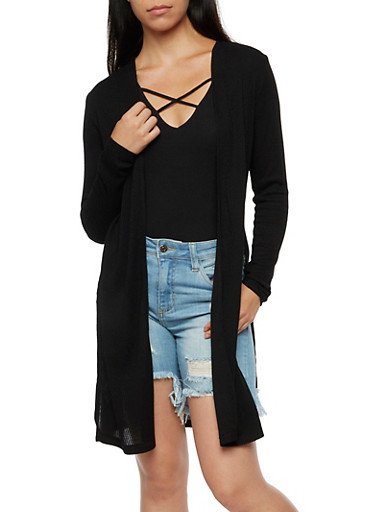 Ribbed Knit Cardigan,BLACK,large