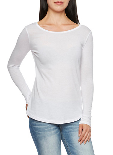 Long Sleeve Jersey Top with Scoop Neck,WHITE,large