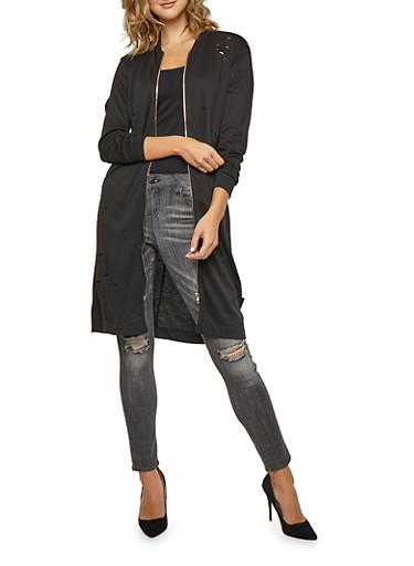Laser Cut Zip Front Sweatshirt Duster,BLACK,large