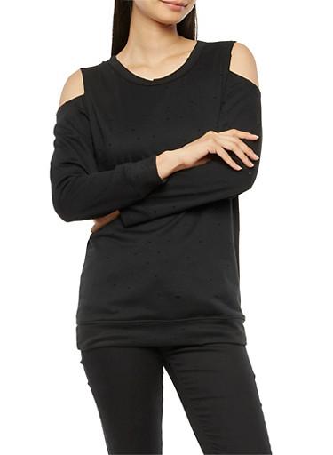 Long Sleeve Slashed Off the Shoulder Sweatshirt,BLACK,large