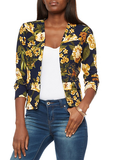 Long Sleeve Floral Print Open Front Blazer,NAVY,large