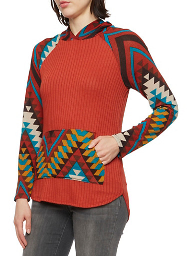 Hooded Long Sleeve Top with Aztec Print,BURGUNDY,large