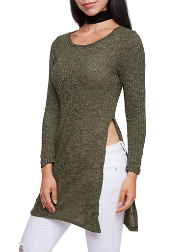 Marled Top with High Side Slits,OLIVE,large