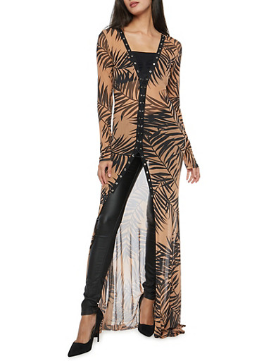 Mesh Palm Leaf Print Lace Up Front Maxi Duster,MOCHA/BLK,large