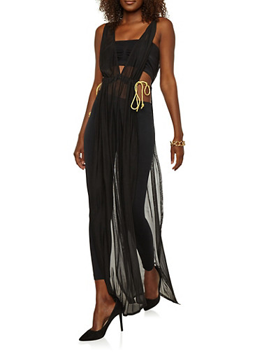 Mesh Open Side Maxi Top,BLACK/GOLD,large
