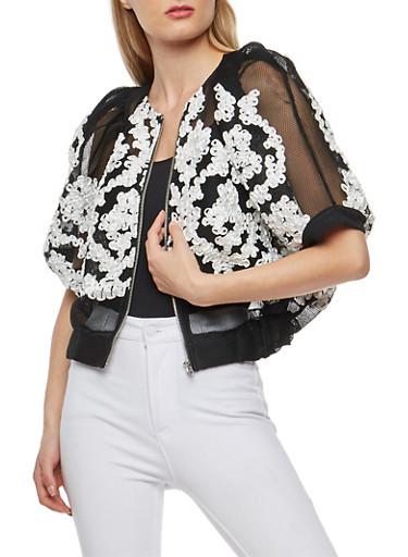 Mesh Bolero Jacket with Stitched Ribbon Detail,BLACK/WHITE,large