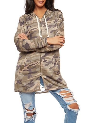Camo Print Slashed Back Tunic Zip Front Sweatshirt,CAMOUFLAGE,large