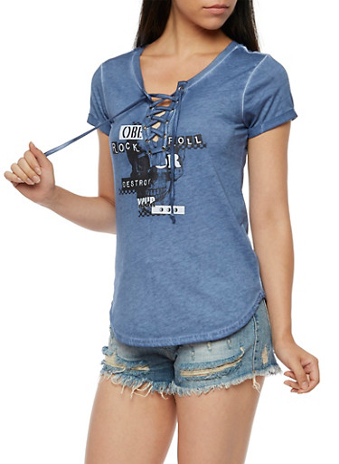 Short Sleeve Lace Up Graphic Top,INFINITY BLUE,large