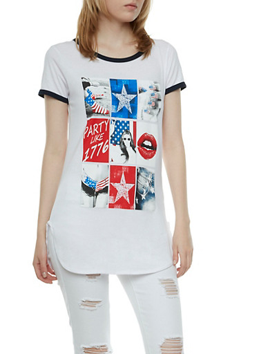 Tunic Top with Americana Graphic,WHITE/NAVY,large