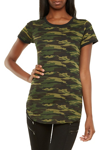Camo Tunic Top,OLIVE,large