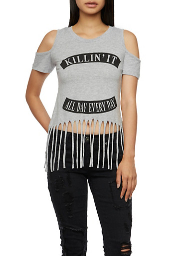 Cold Shoulder Fringe Top with Killin It Graphic,HEATHER,large