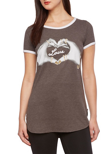 Ringer Tunic Top with Love Hands Graphic,CHARCOAL,large