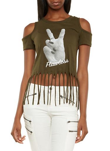 Cold Shoulder Fringe Top with Love Graphic,OLIVE,large