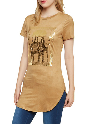 Faux Suede Tunic Top with Elephant Graphic,CAMEL,large