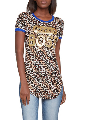 Leopard Print Top with Foil Miss Boss Graphic,RYL BLUE,large