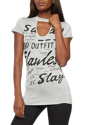 Savage Graphic Choker T Shirt,HEATHER,large
