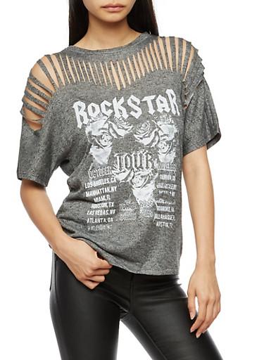Slashed Yoke Graphic Short Sleeve Top,BLACK,large