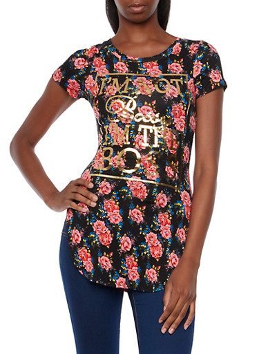 Floral Tunic Top with Bossy Graphic,BLK GROUND,large